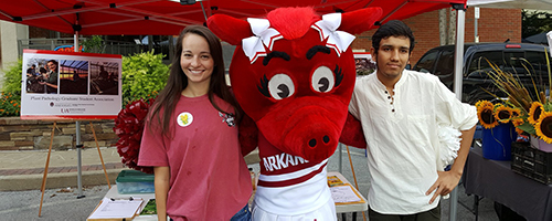 Two Plant Pathology Graduate Student Association student members are posing with a razorback mascot at their booth at the Fayetteville Farmer's Market.